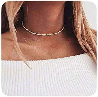 Eoumy Women Crystal Choker Necklace Gold Silver Cup Chain Clear Rhinestone Necklace 1 or 2pcs Pack