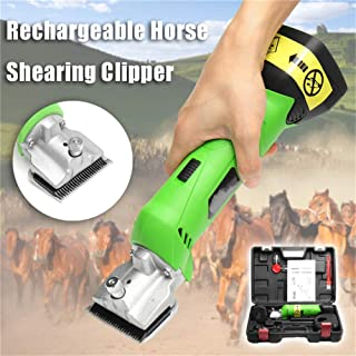 GYQ Professional Cordless Electric Horse Hair Clipper, 200W & 4000Mah Battery Low Vibration Electric Equine Shears, Hair Grooming Trimmer for Pet & Livestock Coats