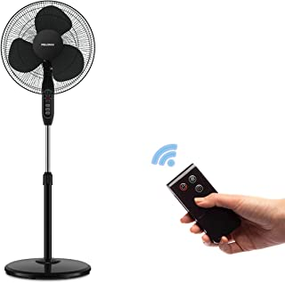 PELONIS 16'' 3-Speed Oscillating Pedestal Fan with 7-Hour Timer, Remote Control and Adjustable in Height, FS40-16JRB,Black