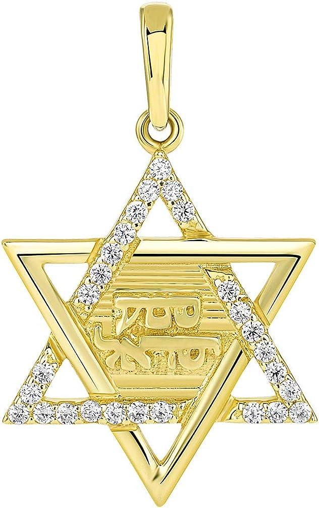 Solid 14K Yellow Gold Hebrew Shema Yisrael CZ Star of David Pendant