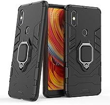 حافظة هاتف شاومي مي مكس 2 اس، حامل معدني على شكل حلقة صلب مقاوم للصدمات (يعمل مع حامل السيارة المغناطيسي)، غطاء متين بطبقة مزدوجة لهاتف شاومي مي مكس 2 اس (اسود)
