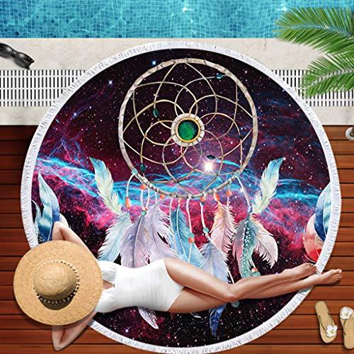 Wffo - Toalla de Playa Redonda de neón con borlas de 152 cm, Secado rápido y Colores Brillantes
