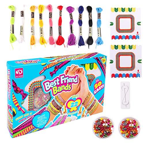 Georgie Porgy Kit de Pulsera DIY para Niñas Kit de Manualidades Regalo de Cumpleaños para Niños de 8 Años en Adelante Incluye Hilo de Colores, Cuentas, Tablero Tejido, Aguja(Azul)
