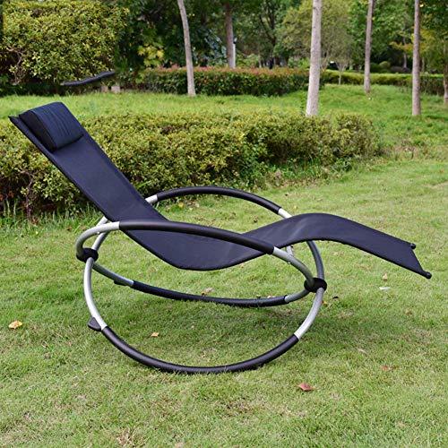 CYQ Silla Plegable de balancín balancín Transpirable Mecedora con Almohada (Negro) para jardín y Exterior