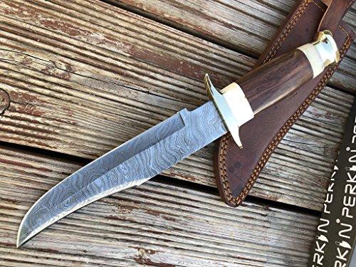 Perkin Damast Jagdmesser mit Lederscheide - Bowie Messer
