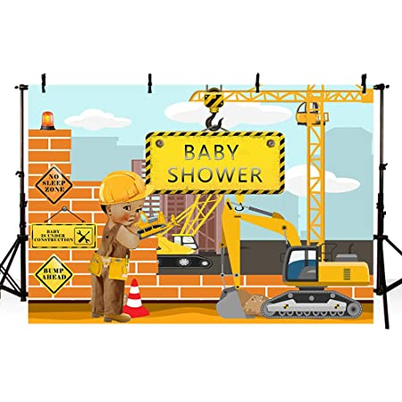 Zhy Construction Baby Shower Backdrop It/'s a Boy Construction Background Yellow Trucks and Diggers Photography Background 7x5ft Baby Shower Party Banner Decoration