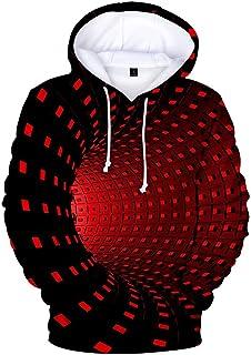 Xmiral Felpa con Cappuccio da Uomo 3D Stampa Creativa Girocollo Casual Camicie Lunghe Camicetta Superiore
