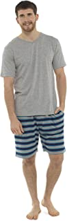 Socks Uwear Mens Jersey Cotton V-Neck Top & Striped Print Shorts Pyjama
