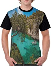 T Shirt Print Girls Tee,Nature,Small Yacht Floating in Sea Majorca Spain Rocky Hills Forest Trees Scenic View,Green Aqua Blue S-XXL Men Casual Girl Tops