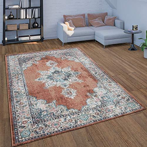 Paco Home In- & Outdoor-Teppich Für Balkon Terrasse, Kurzflor Mit Orient-Design In Rot, Grösse:160x230 cm