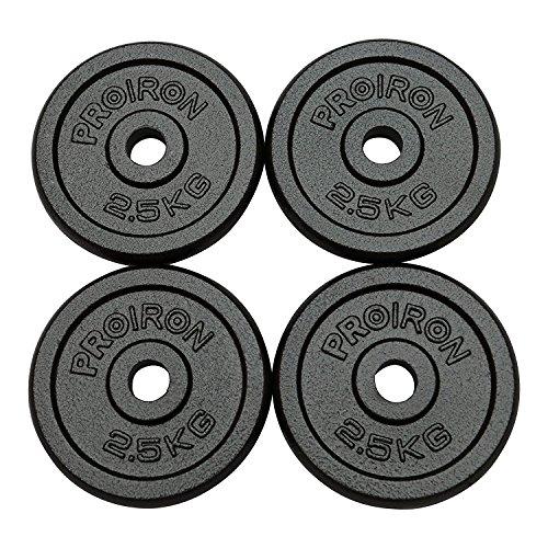 PROIRON Dischi Pesi Piastre Ghisa Peso Impostato 1.25kg, 2,5 kg, 5 kg, 10 kg per manubri da 1 Pollice (2.5kg*4)
