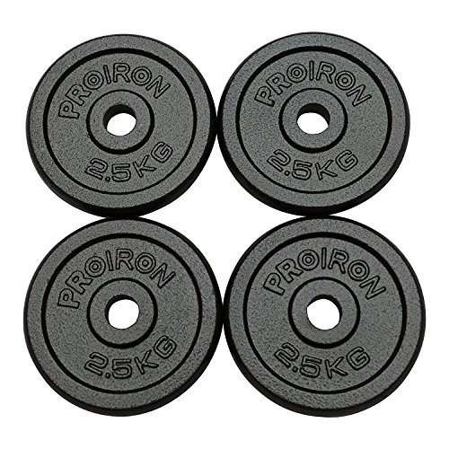 PROIRON Hantelscheiben Set, 10kg, Gusseisen, 4 x 2.5kg Gewichte, 25mm Bohrung