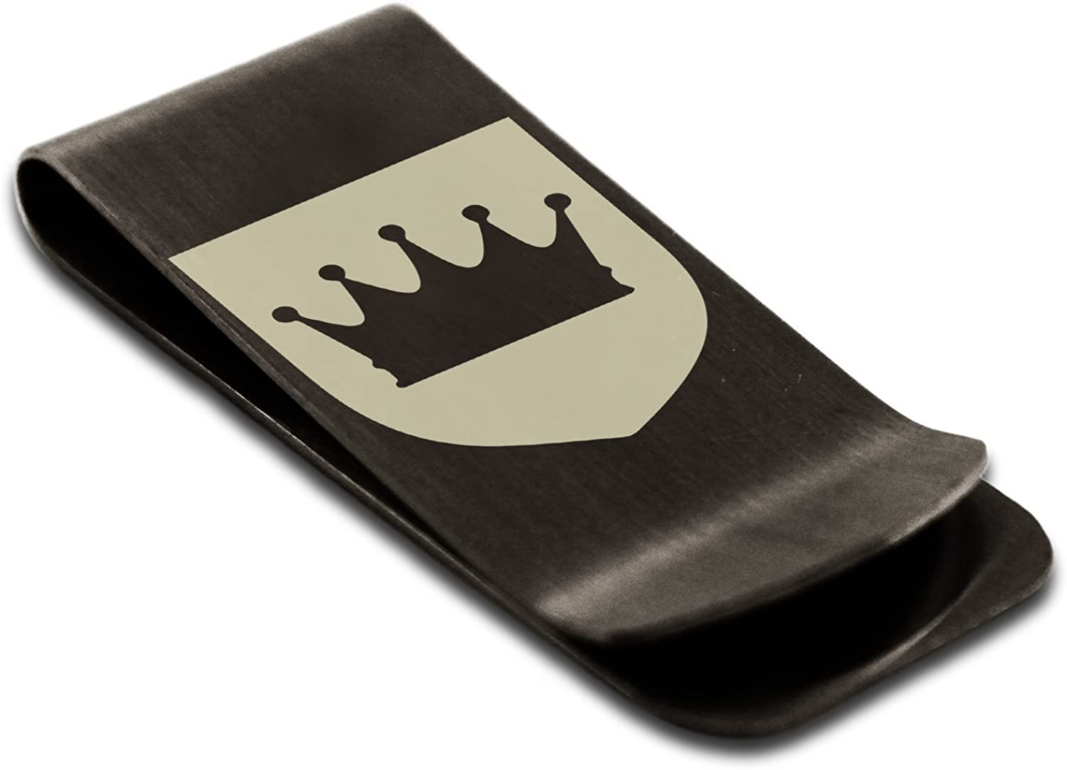 Stainless Steel Crown Royal Coat of Arms Shield Symbol Money Clip Credit Card Holder