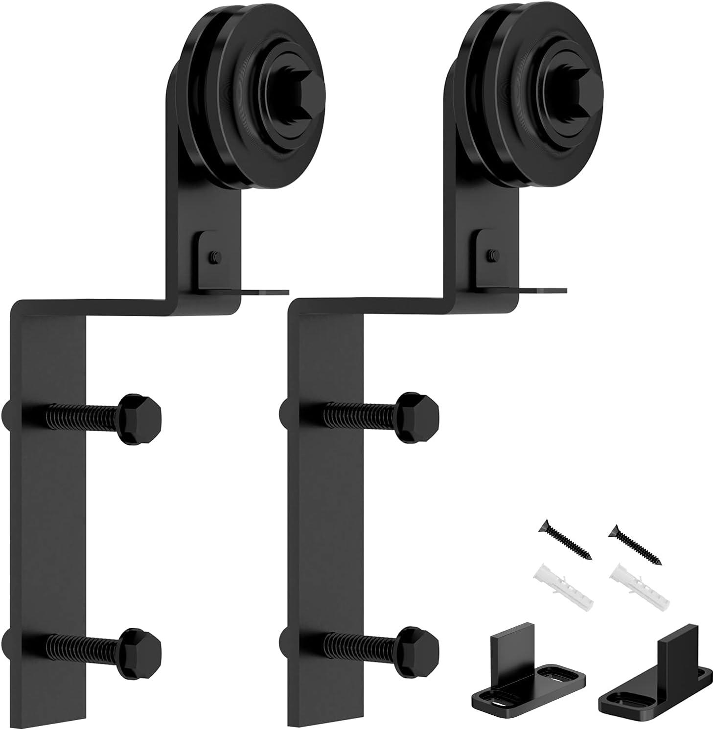 Barn Door Sliding Hardware Hangers 2pcs S Bypass Safety and trust Bent I Regular discount Black