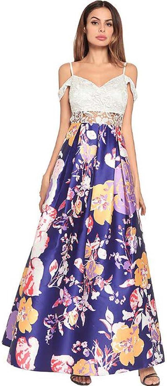 Women Printing Suspenders Skirt Swing Maxi Dress Party Dre Sweet High Waist Lace Splice colormatch Hollow Zipper A Line Skirt Ball Gown Court Dress Eu Size SXXL