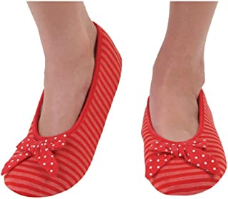 Snoozies Women's Lightweight Striped Ballet with Bow Slipper Socks (XL, Red)