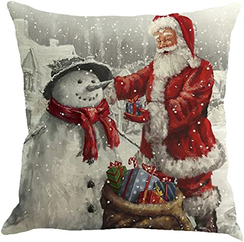 2021 OPTIMISTIC Santa Claus Throw Pillow Cover, 18 x 18 high quality Inch Winter Holiday Cushion online sale Case Decoration for Sofa Couch, Christmas Decorations Pillowcase Cotton Linen Cushion Case for Home Decor outlet online sale