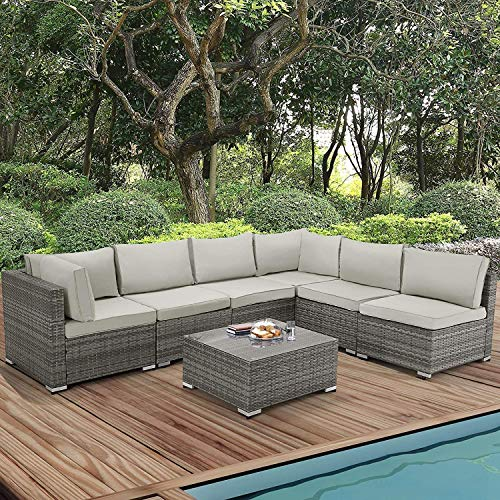 U-MAX 7 Piece Outdoor Patio Furniture Set, Gray PE Rattan Wicker Sofa Set, Outdoor Sectional Furniture Chair Set with Gray Cushions and Tea Table