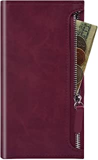 Qoosan Galaxy A32 Zipper Wallet Case, Leather Flip Cover with Card Holder for Samsung Galaxy A32 4G, Wine