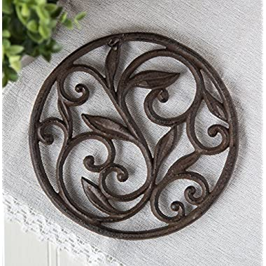 Cast Iron Trivet - Round with Vintage Pattern - Decorative Cast Iron Trivet For Kitchen Or Dining Table - 7.7  Diameter - Rust Brown Color - With Rubber Pegs by Comfify