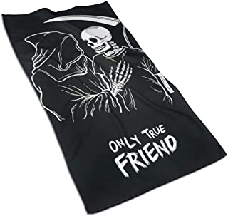 NIOANNG Towels Polyester Cotton Hand Towel for Hotel Spa Bathroom Gym Breathable Strong Absorbent Towel with Grim Reaper Only True Friend Single Side Printing, 27.5 X 15.7 Inch