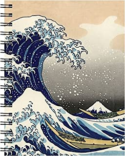 Wire-o Journal - Hokusai Wave - Large..( Lined both sides - Black wire-o )