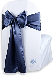 Sparkles Make It Special 50 pcs Satin Chair Cover Bow Sash - Navy Blue - Wedding Party Banquet Reception - 28 Colors Available
