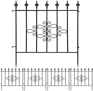 Best AMAGABELI GARDEN & HOME Decorative Garden Fence GFP008 27inx10ft Outdoor Coated Rustproof Metal Garden Fencing Panel Animal Barrier Iron Folding Edge Wire Border Fence Ornamental for Patio Landscape Review