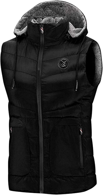 Men's Zip Up Down Alternative Chevron Quilted Hooded Puffer Vest