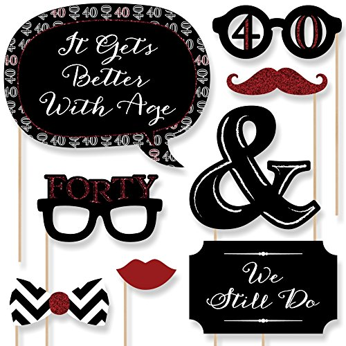 Big Dot of Happiness 40th Anniversary - Photo Booth Props Kit - 20 Count