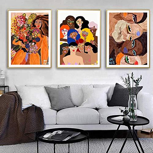 VVSUN Cartel Abstracto Moderno Pintura Mujer Sexy Lienzo Multicolor Pintura Arte impresión Imagen Pared Sala de Estar decoración del hogar 40x60 cm 16x24 Pulgadas x 3 sin Marco