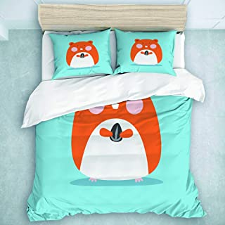 MOASTORY 3 Piece Duvet Cover Set, Brown Happy Cute Hamster Pet Holding Sun Flower Seed Colorful Animal Cartoon, Luxury Quilt Set, Twin Size