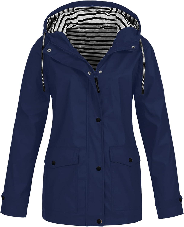 Women Solid Waterproof Rain Coats Casual Zipper Pocket Buttons Jacket Outdoor Sun Protect Sportsuit Plus Size Hoodie