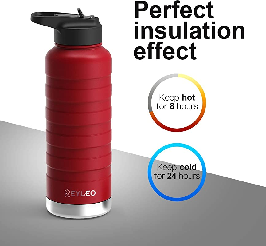 REYLEO Vacuum Insulated Water Bottle With Straw Lid 18 Oz 24 Oz 32 Oz Black And Red 2 Lids 18 8 Stainless Steel Metal Sport Water Bottle Keep Cold 36 Hours Hot 12 Hours Standard Mouth With Straw Lid