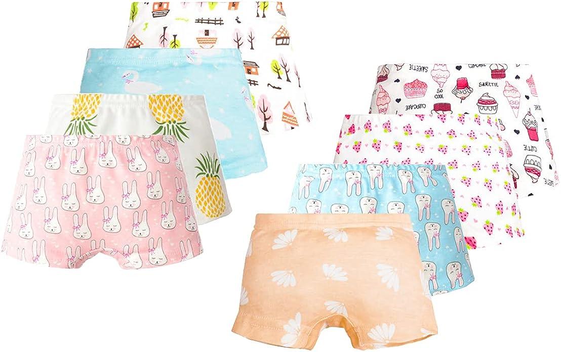 Lashapear Little Girls'Short Underwear Soft Cotton Toddler Panties Kids Boyshort Briefs 2-7 Years