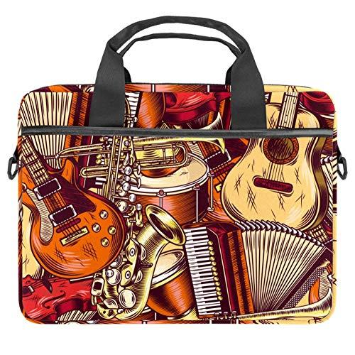 LORVIES Muziekinstrumenten Gitaar Hoorn Violin Laptop Tas Schouder Messenger Bag Zakelijke Mouw Draaghandvat Tas voor 14 naar 15.4 inch Laptop Notebook