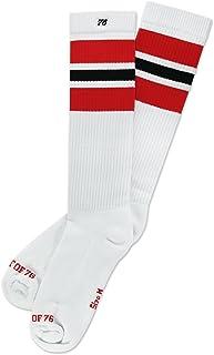 Los Red Blacks | Calcetines altos retro de rayas | rayas blancas, rojas & negras | calcetines unisex estilizados entubados