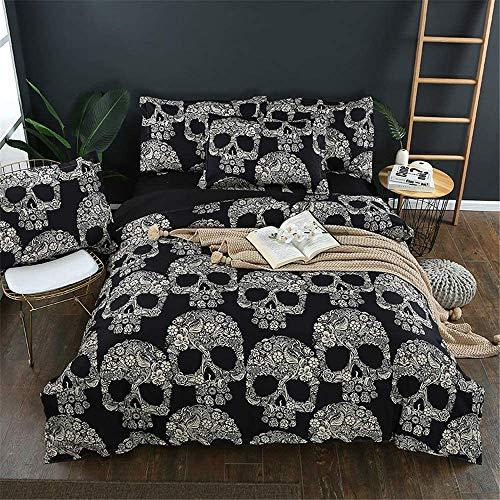 Dark Series 3 delige dekbedovertrek, Kleine Skeleton gedrukt beddengoed, eenpersoonsbed Tweepersoonsbed comfortabele zachte microvezel Bedding,210 * 210cm