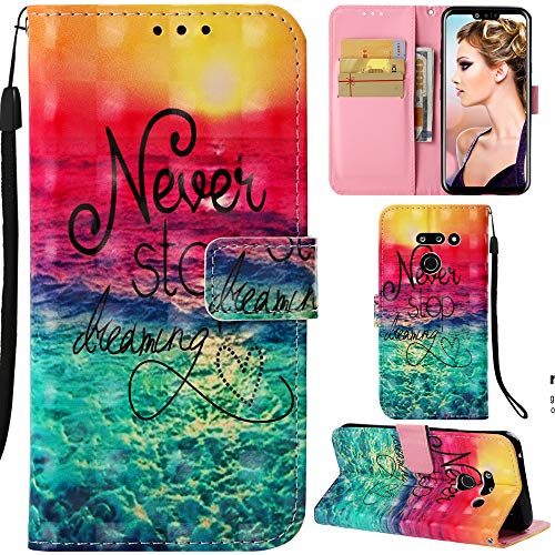 DodoBuy LG G8 ThinQ Hülle 3D Flip PU Leder Schutzhülle Stand Handy Tasche Brieftasche Wallet Hülle Cover für LG G8 ThinQ - Never Stop Dreaming