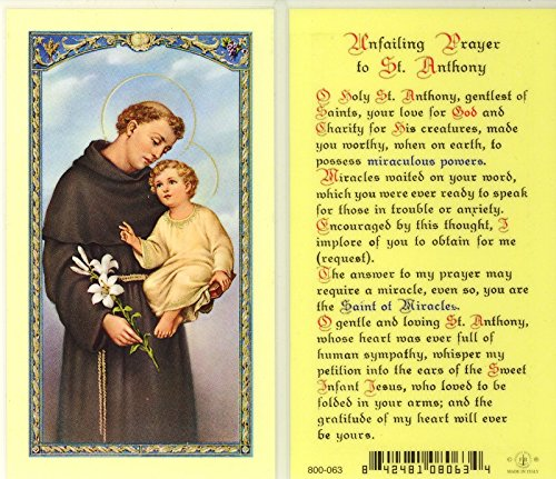 WJ Hirten E24-303 Unfailing Prayer to St. Anthony, Clear Holy Cards