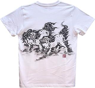 獅子2 ライオン Tシャツ 白 半袖 和柄 日本画 手描き 墨絵 伯舟庵