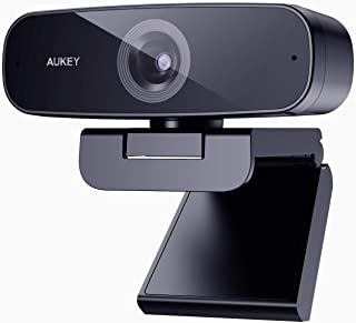 AUKEY Webcam 1080p Full HD, Live Streaming Camera with Noise Reduction Microphone, Desktop or Laptop USB Webcam for Widesc...