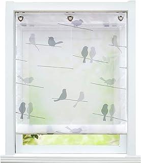 ESLIR – Estor sin agujeros, cortina con ojales, transparente, con gancho en U, moderno color blanco, 1 pieza, 100% poliéster, Diseño de pájaros., BxH 100x140cm