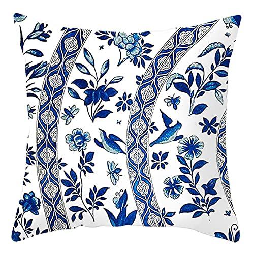 Daesar Federa Decorativa Cuscino, Federa Copricuscino Letto Blu Bianco Federa Arredo 40x40 CM 1 Pezzo Foglia di Fiori, Federe in Poliestere