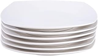 Cutiset 10.5 Inch Porcelain Square Salad/Desert Dinner Plates, Set of 6, White (10.5 Inch, Square)