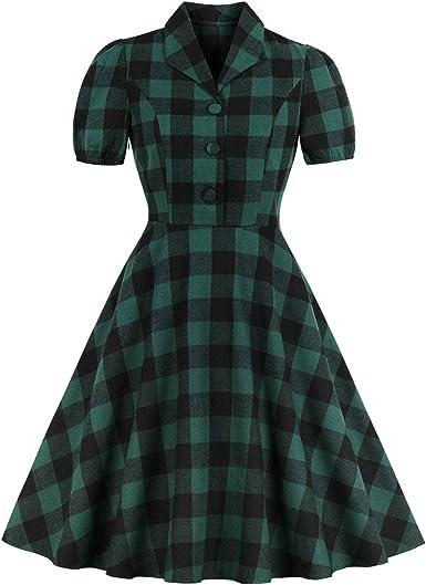 Wellwits Vestido de camisa vintage de los años 40 con botones y bolsillo para mujer