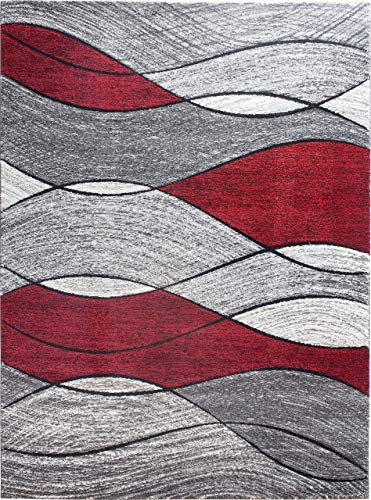 SrS Rugs Impulse Collection, Rug for Living Room, Bedroom, Hallway, Contemporary Abstract Geometric Wave Design with 10mm Soft Pile. 8 Colours, 6 Sizes (Red, 120cm x 170cm)