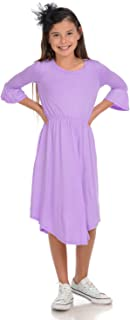 Honey Vanilla Girls' Fit and Flare Midi Dress with Bell Sleeve
