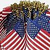FENGLISUSU ハンドヘルド小型ミニフラグアメリカ米国国旗アメリカの国旗スティックフラグラウンドトップ国立国旗、パレード、ワールドカップ、フェスティバルイベント、インターナショナルフェスティバルのためのパーティーの装飾用品 (Color : 300PACK)