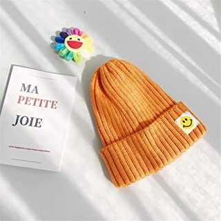 ZiWen Lu Female Autumn and Winter hat Knitted Wool Cap Ear Patch ins Lovely Smiling face Japanese Wild Casual Korean Men (Color : Orange, Size : One Size)